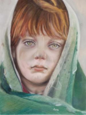 Bambina afghana Pittura - Expositio Galleria Arte Online con Artisti Ed Opere Reali