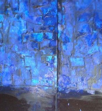 Triptique blue Pittura - Expositio Galleria Arte Online con Artisti Ed Opere Reali