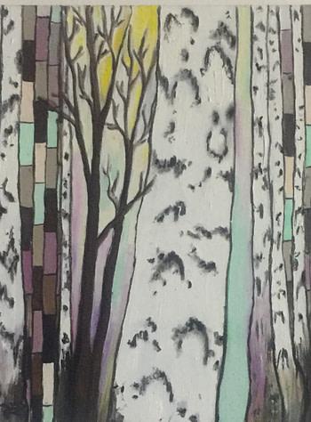 Foresta di betulla Pittura - Expositio Galleria Arte Online con Artisti Ed Opere Reali