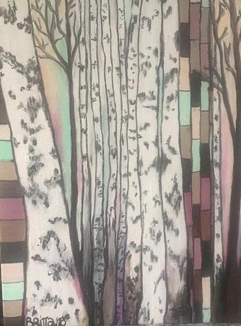 Foresta betulla Pittura - Expositio Galleria Arte Online con Artisti Ed Opere Reali