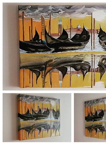 Tramonto in bacino Pittura - Expositio Galleria Arte Online con Artisti Ed Opere Reali