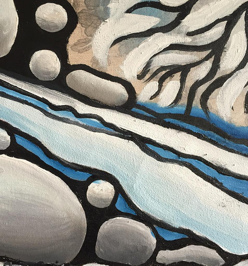 Ruscello d'inverno Pittura - Expositio Galleria Arte Online con Artisti Ed Opere Reali