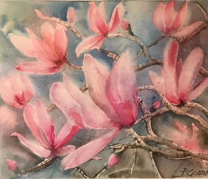 Magnolia Japan Pittura - Expositio Galleria Arte Online con Artisti Ed Opere Reali