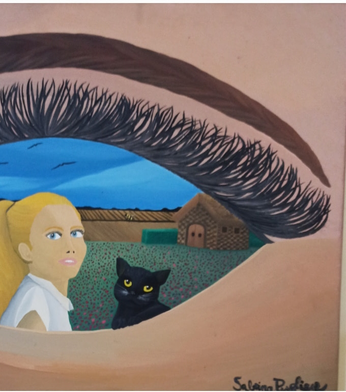 La bambina e il gatto nero Pittura - Expositio Galleria Arte Online con Artisti Ed Opere Reali