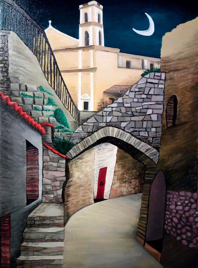 Il paese e la luna Pittura - Expositio Galleria Arte Online con Artisti Ed Opere Reali