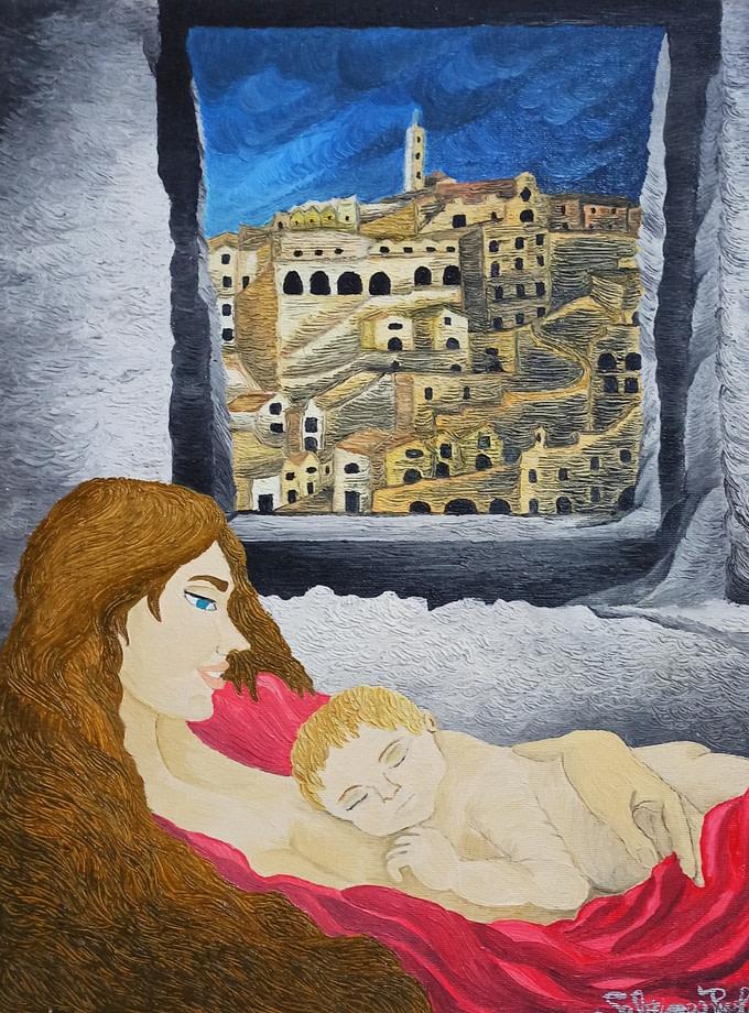 Moderna maternità materana Pittura - Expositio Galleria Arte Online con Artisti Ed Opere Reali