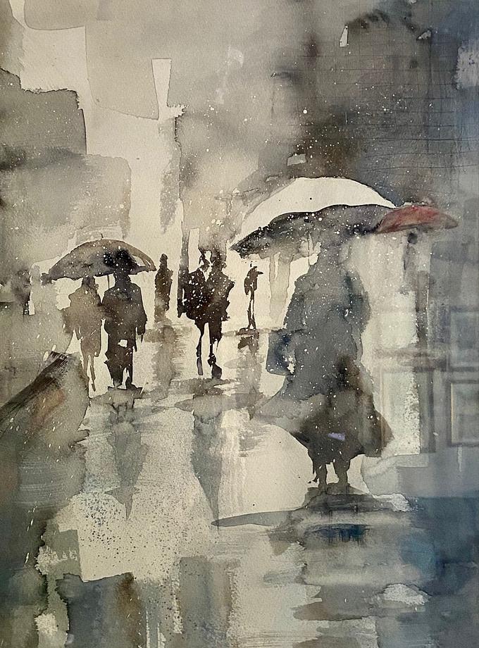 PAESAGGIO URBANO ASTRATTO Pittura - Expositio Galleria Arte Online con Artisti Ed Opere Reali