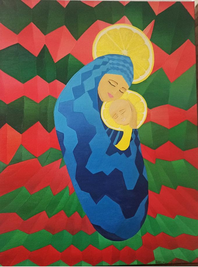 La madre regina Pittura - Expositio Galleria Arte Online con Artisti Ed Opere Reali
